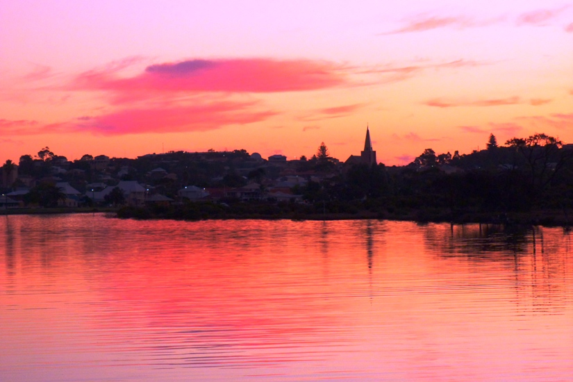 Sunset looking back to the Cathedral in Bunbury