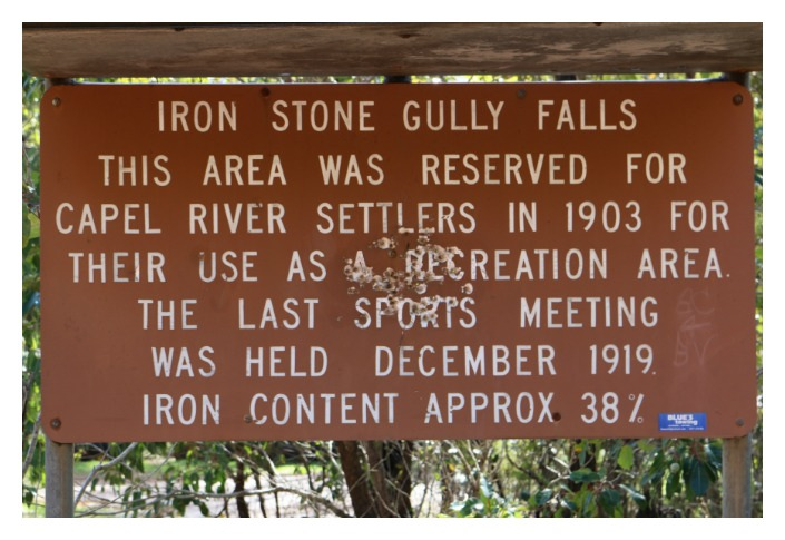 Photo of signage near Iron Stone Gully Falls, Capel, Bunbury.