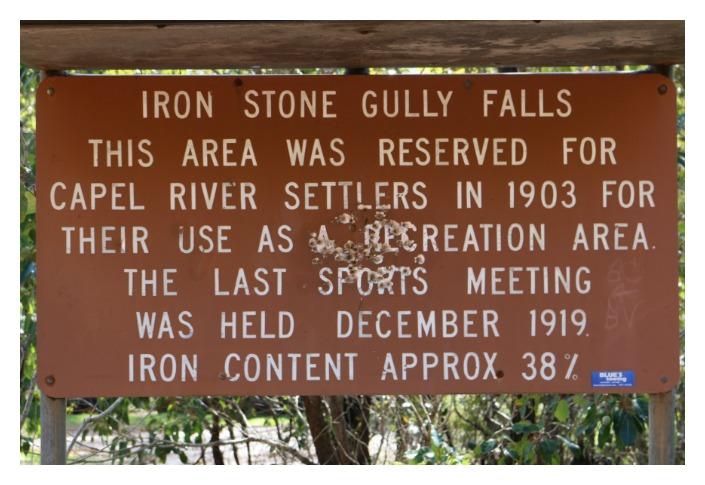 Photo of signage near Iron Stone Gully Falls, Capel, Bunbury.