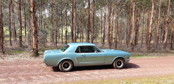 Blue 1965 Mustang, country road, Geographe Wine Region