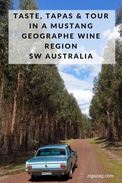 Turquoise blue 1965 vintage Mustang coupe cruising the Geographe Wine Region on a Tapas, Taste, Tour Adventure with Mr Mustang Hire.