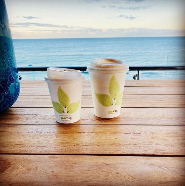 Bio Cups with ocean view, eco friendly coffee guide
